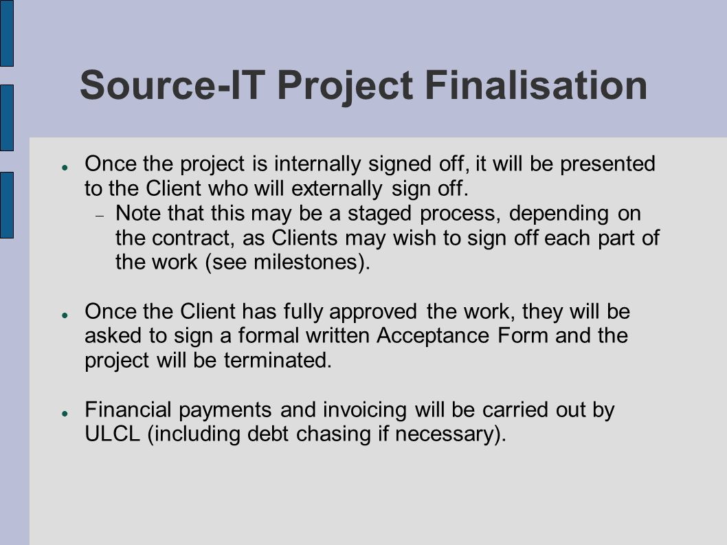 Source-IT Project Finalisation