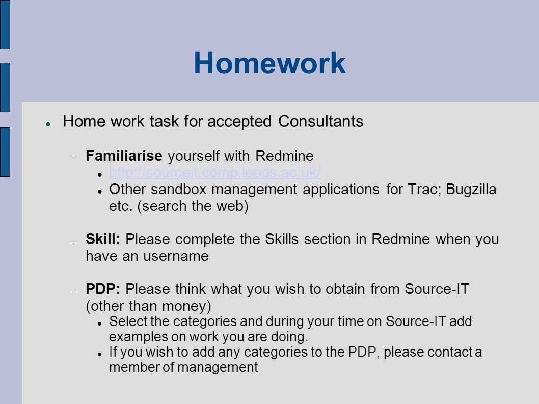 Homework Home work task for accepted Consultants