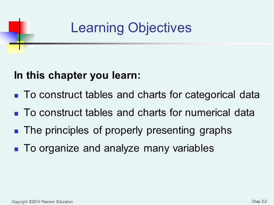 chapter 2 organizing and visualizing data 2 learning objectives