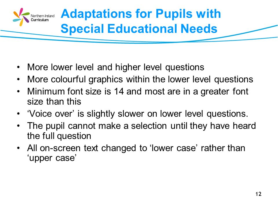 Adaptations for Pupils with Special Educational Needs