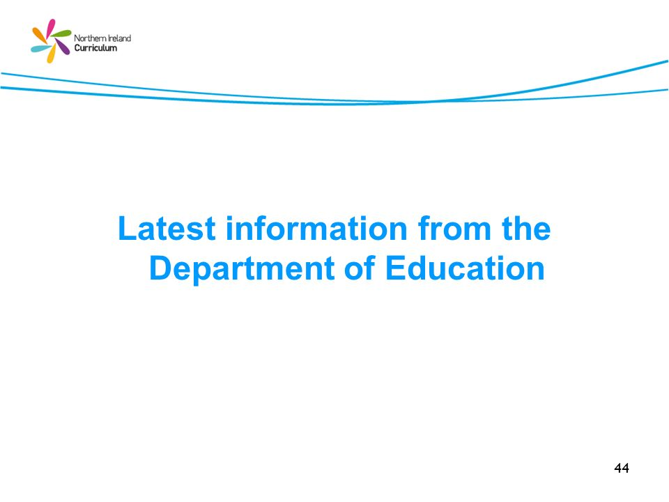 Latest information from the Department of Education
