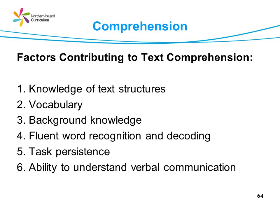 Comprehension Factors Contributing to Text Comprehension: