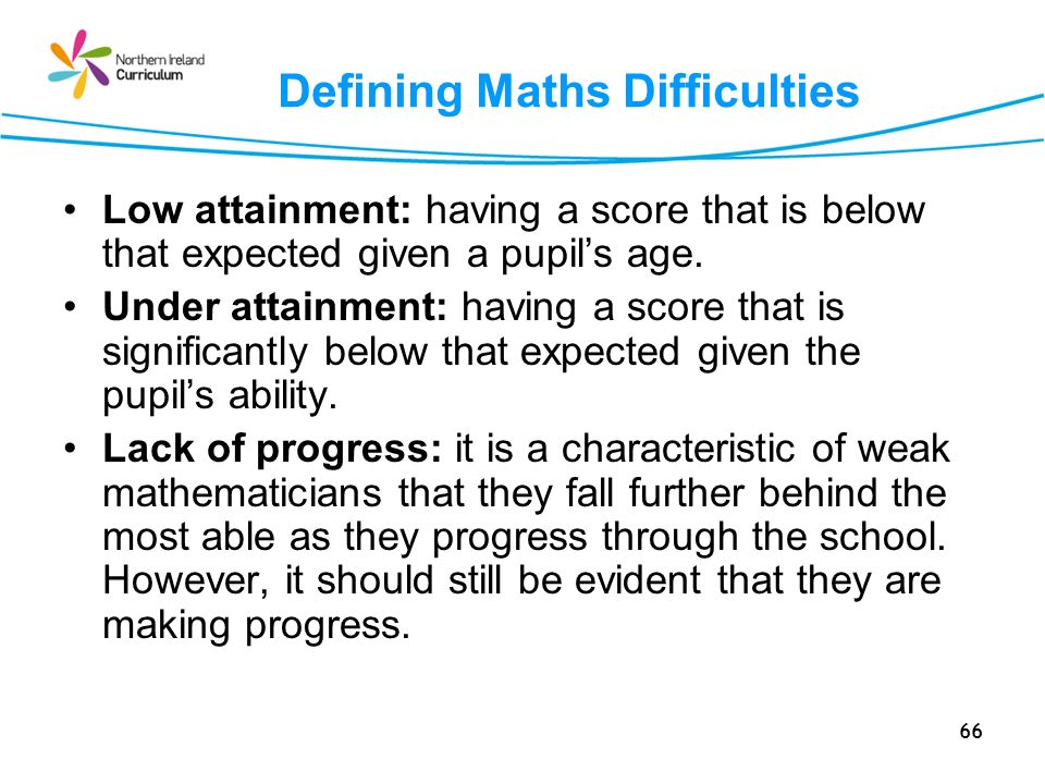 Defining Maths Difficulties