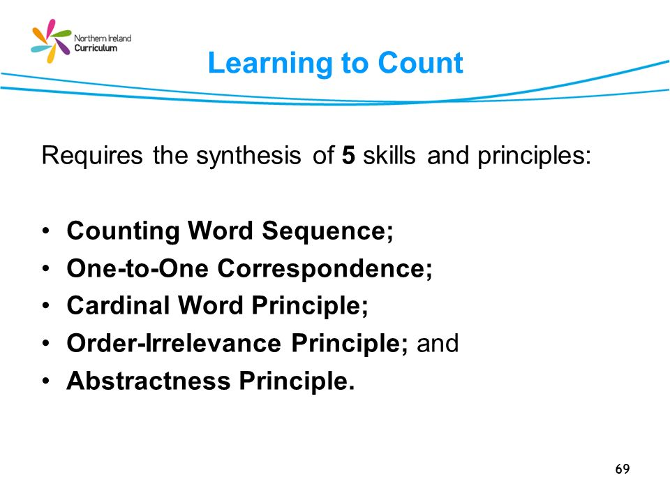 Learning to Count Requires the synthesis of 5 skills and principles: