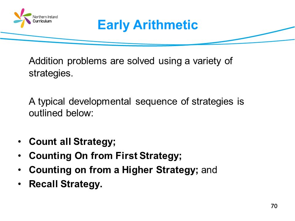 Early Arithmetic Addition problems are solved using a variety of strategies. A typical developmental sequence of strategies is outlined below: