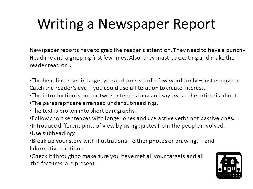 how do you write a newspaper report