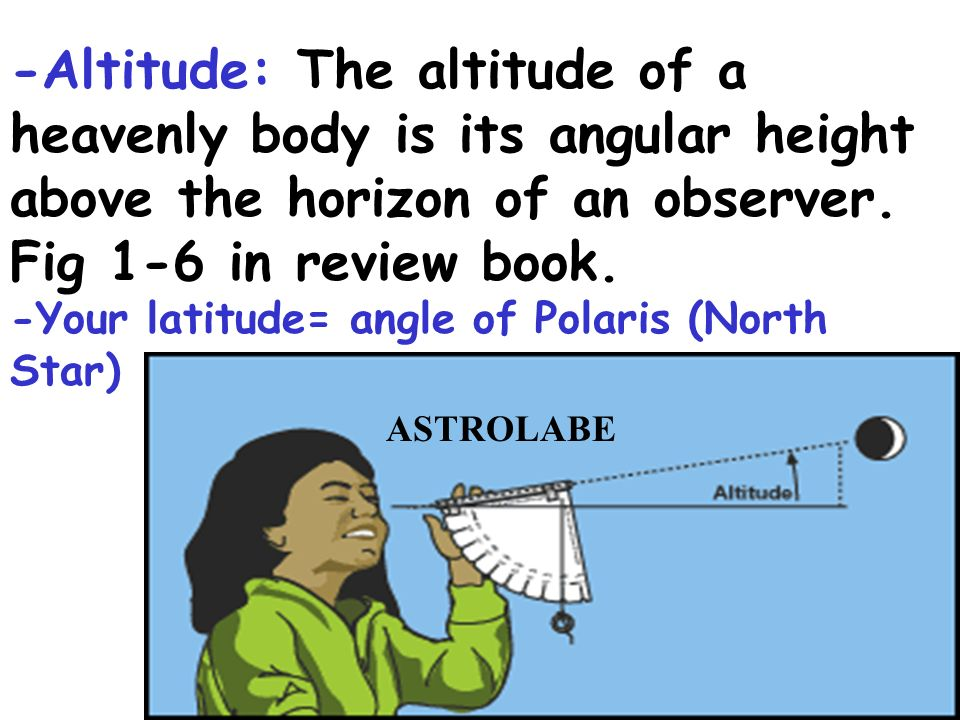 -Altitude: The altitude of a heavenly body is its angular height above the horizon of an observer. Fig 1-6 in review book.