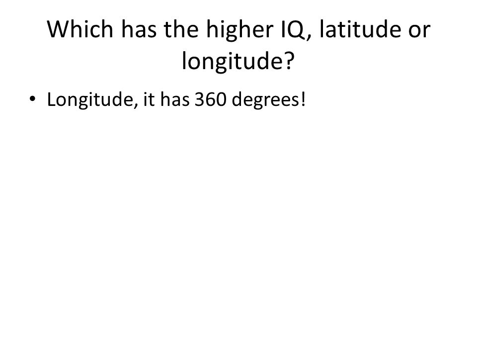Which has the higher IQ, latitude or longitude