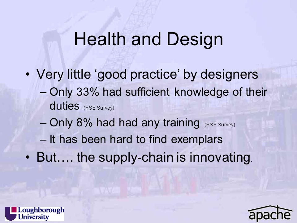 Health and Design Very little 'good practice' by designers