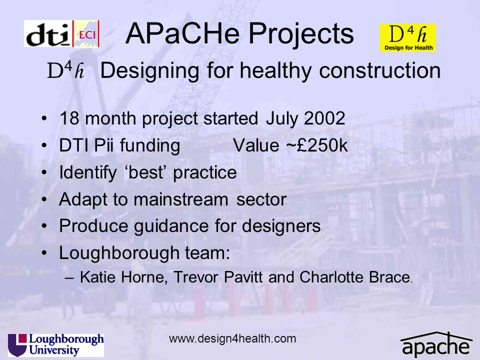 APaCHe Projects D4h Designing for healthy construction