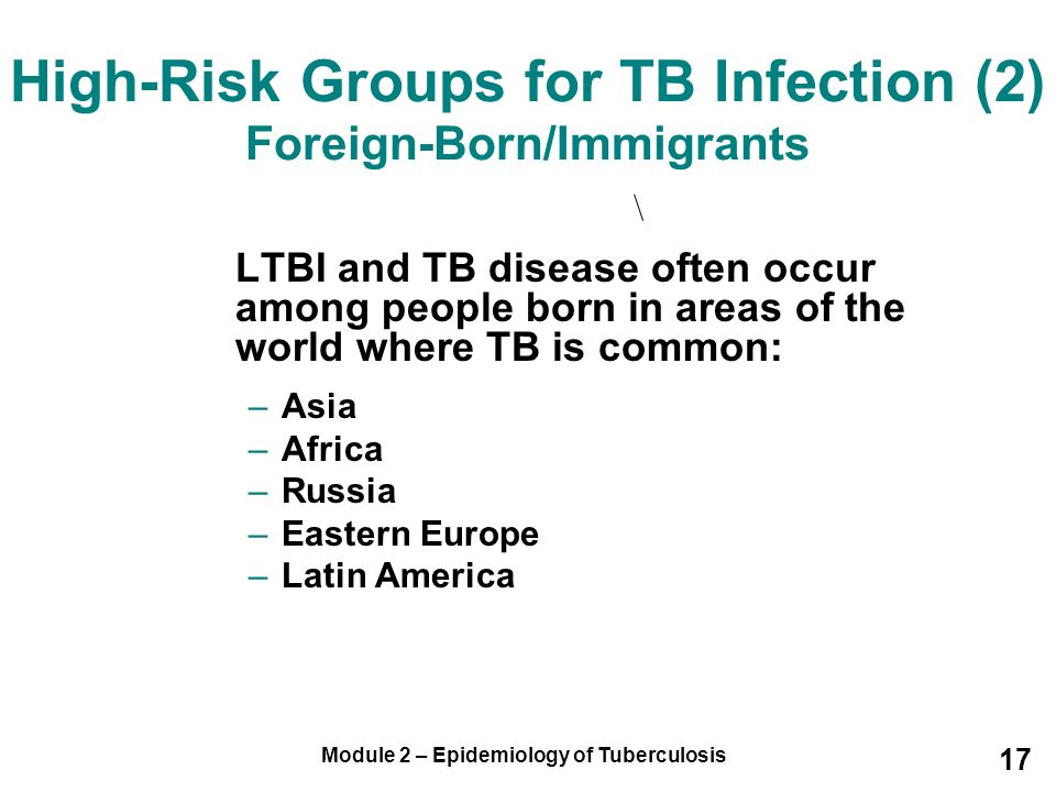 High-Risk Groups for TB Infection (2) Foreign-Born/Immigrants