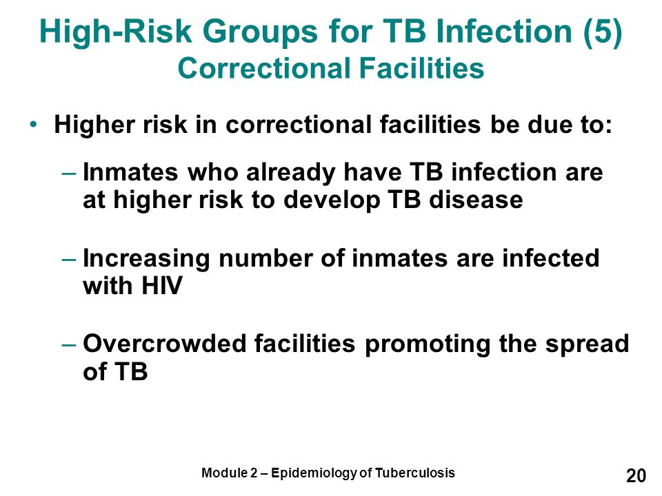 High-Risk Groups for TB Infection (5) Correctional Facilities