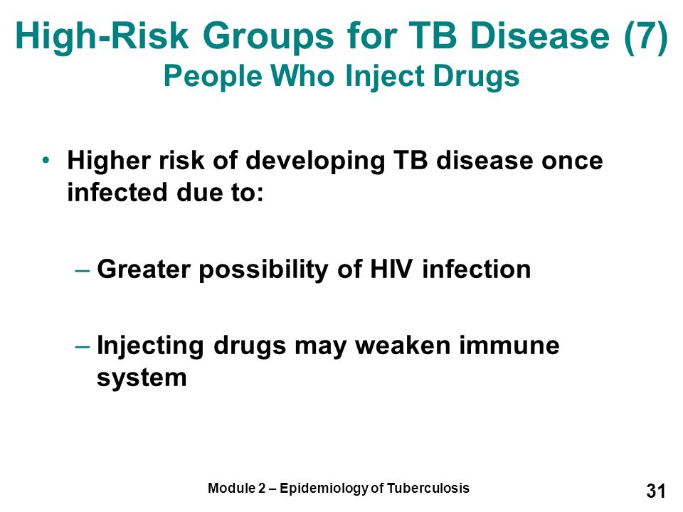 High-Risk Groups for TB Disease (7) People Who Inject Drugs