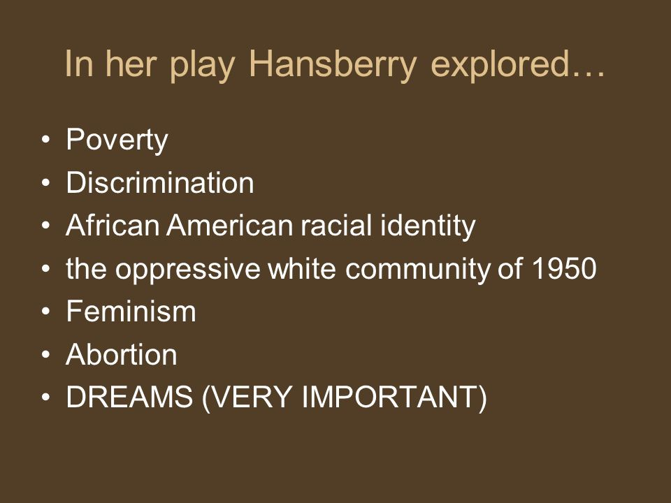 In her play Hansberry explored…