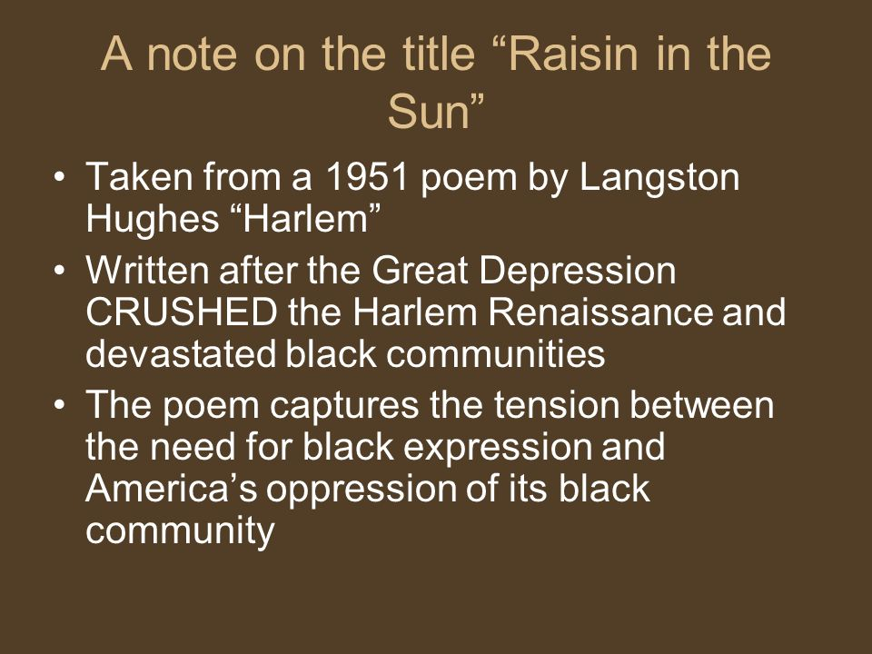 A note on the title Raisin in the Sun