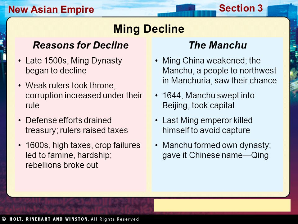 Ming Decline Reasons for Decline The Manchu