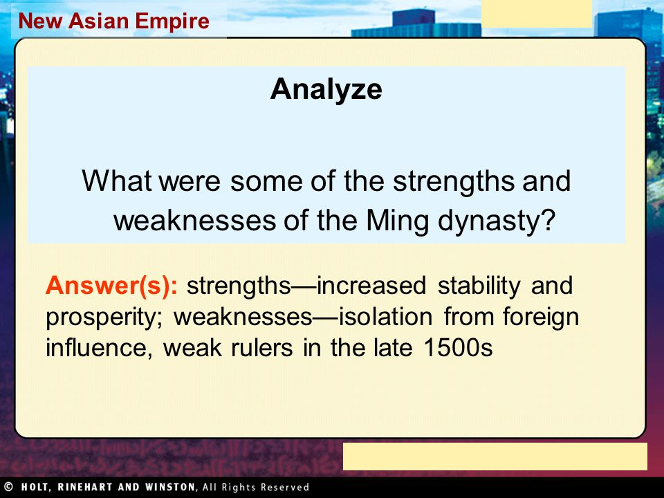 What were some of the strengths and weaknesses of the Ming dynasty