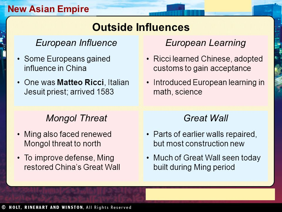 Outside Influences European Influence European Learning Mongol Threat