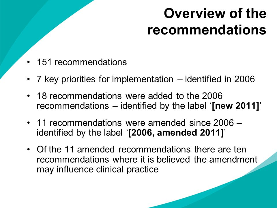Overview of the recommendations