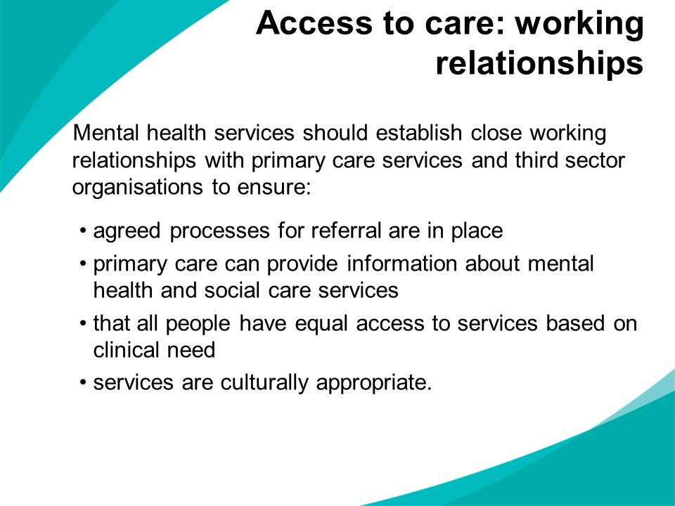 Access to care: working relationships