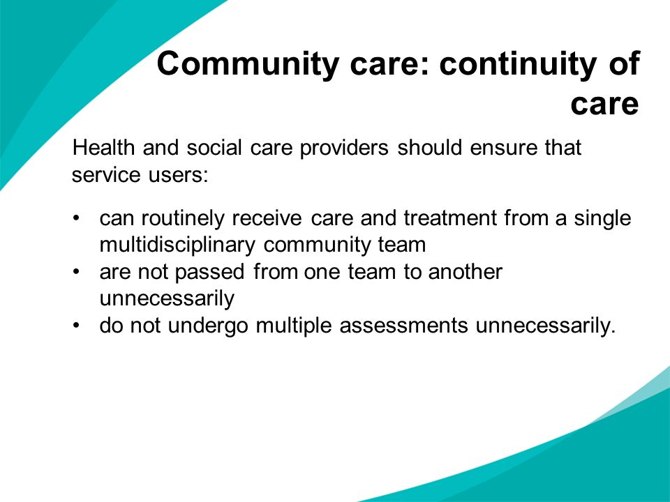 Community care: continuity of care