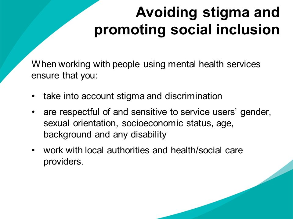 Avoiding stigma and promoting social inclusion
