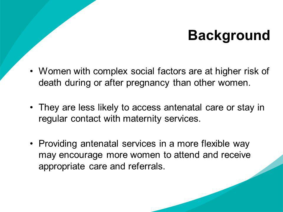 Background Women with complex social factors are at higher risk of death during or after pregnancy than other women.