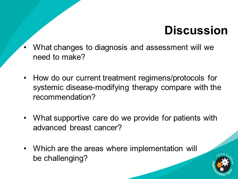 Discussion What changes to diagnosis and assessment will we need to make