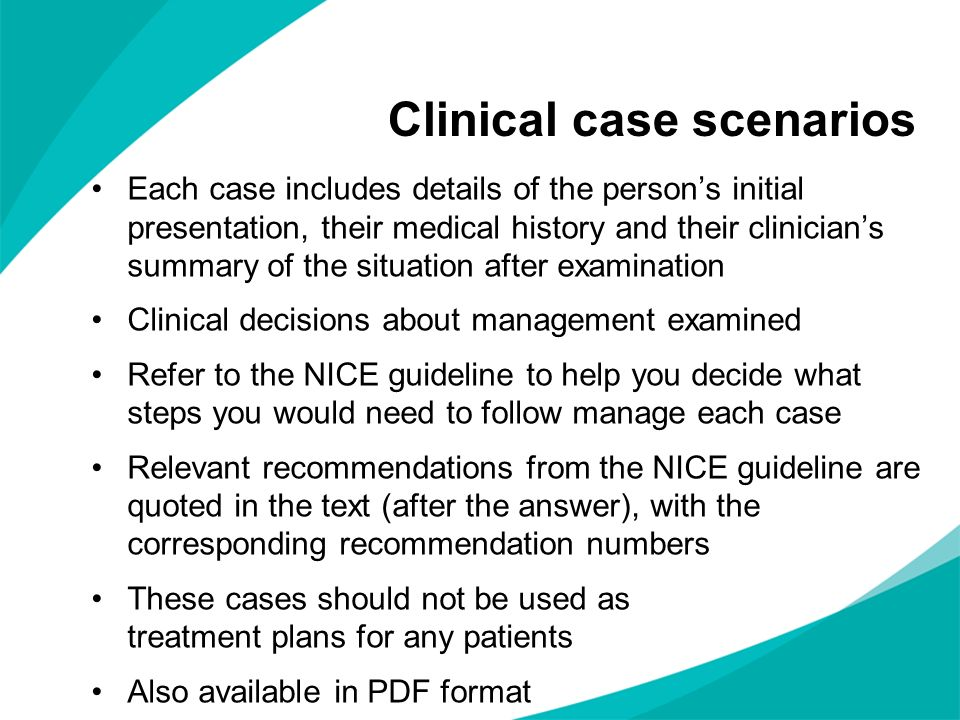 Clinical case scenarios