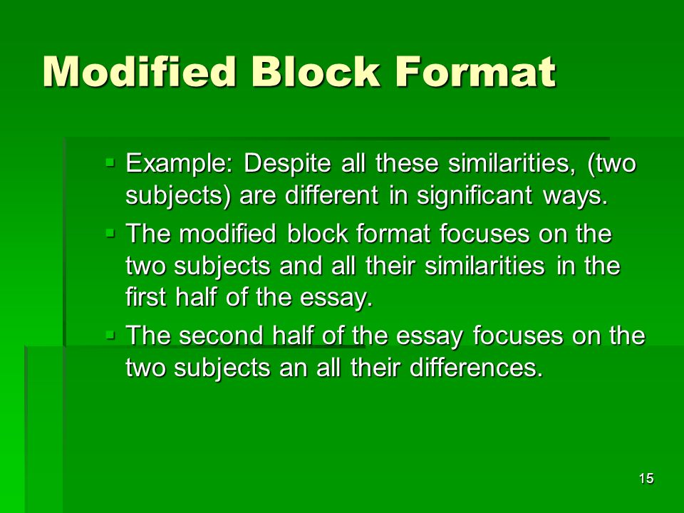 block format essay