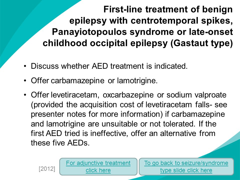 First-line treatment of benign epilepsy with centrotemporal spikes, Panayiotopoulos syndrome or late-onset childhood occipital epilepsy (Gastaut type)