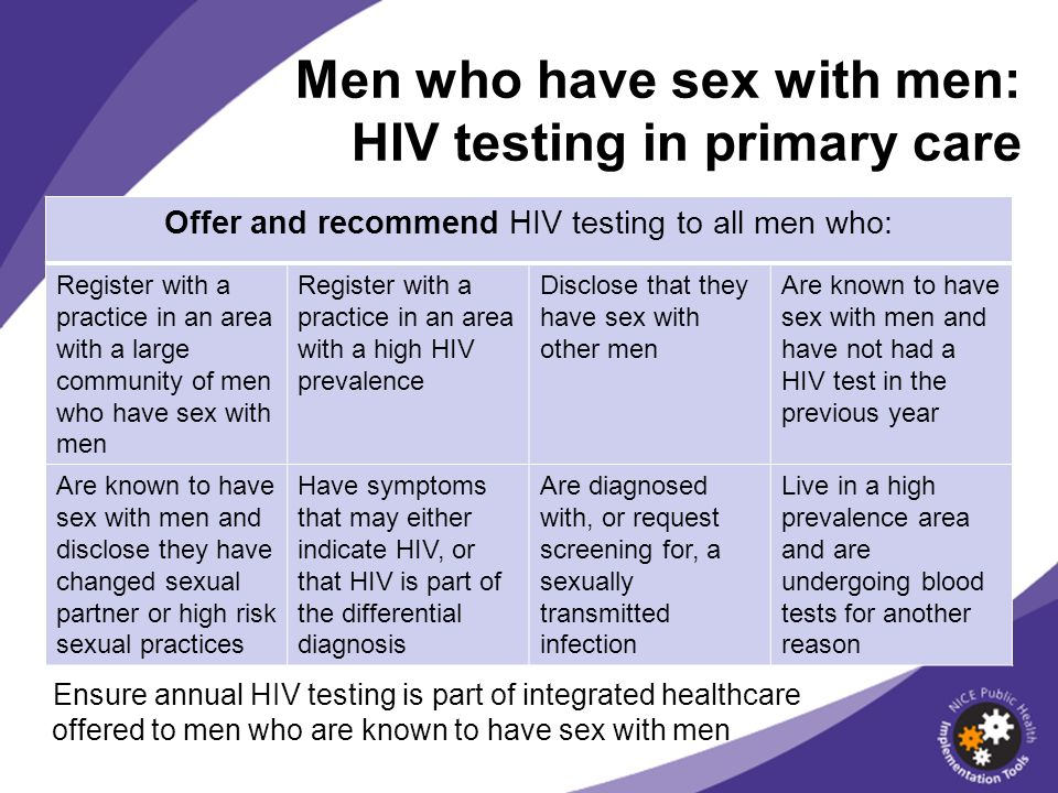 Men who have sex with men: HIV testing in primary care