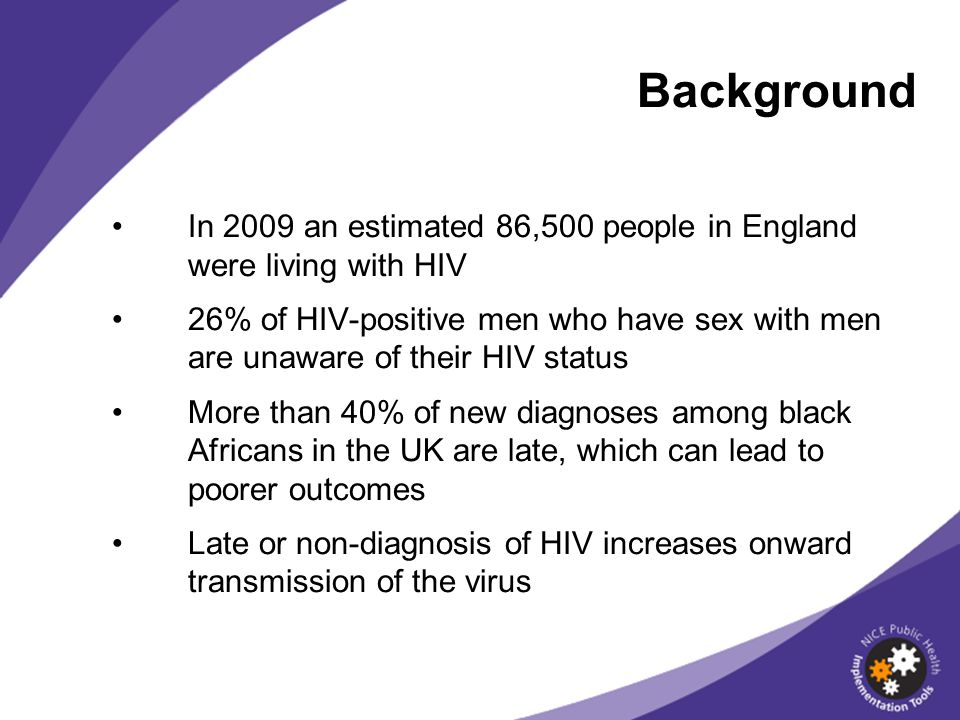 Background In 2009 an estimated 86,500 people in England were living with HIV.