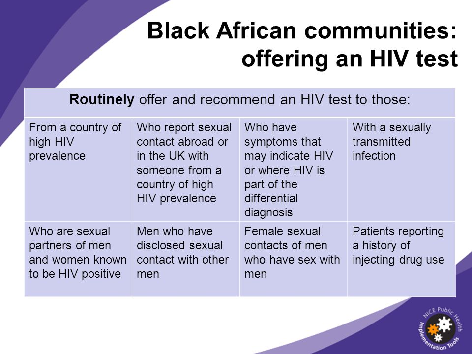 Black African communities: offering an HIV test