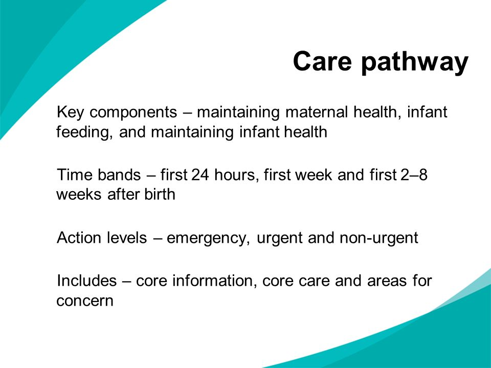 Care pathway Key components – maintaining maternal health, infant feeding, and maintaining infant health.