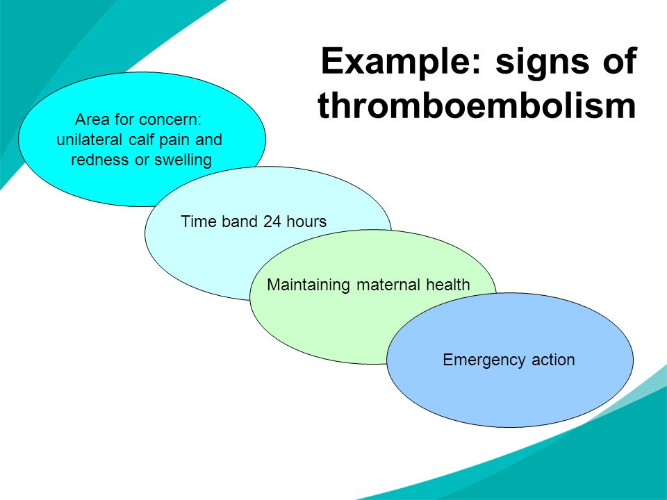 Example: signs of thromboembolism