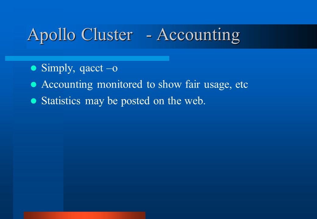 Apollo Cluster - Accounting
