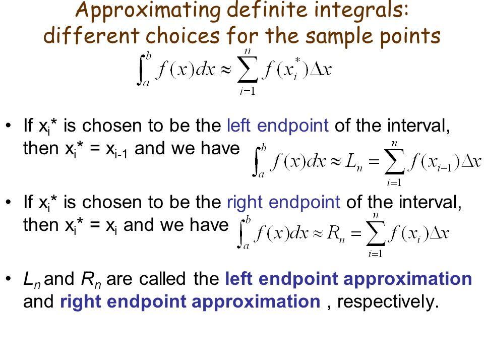 Approximating definite integrals: different choices for the sample points