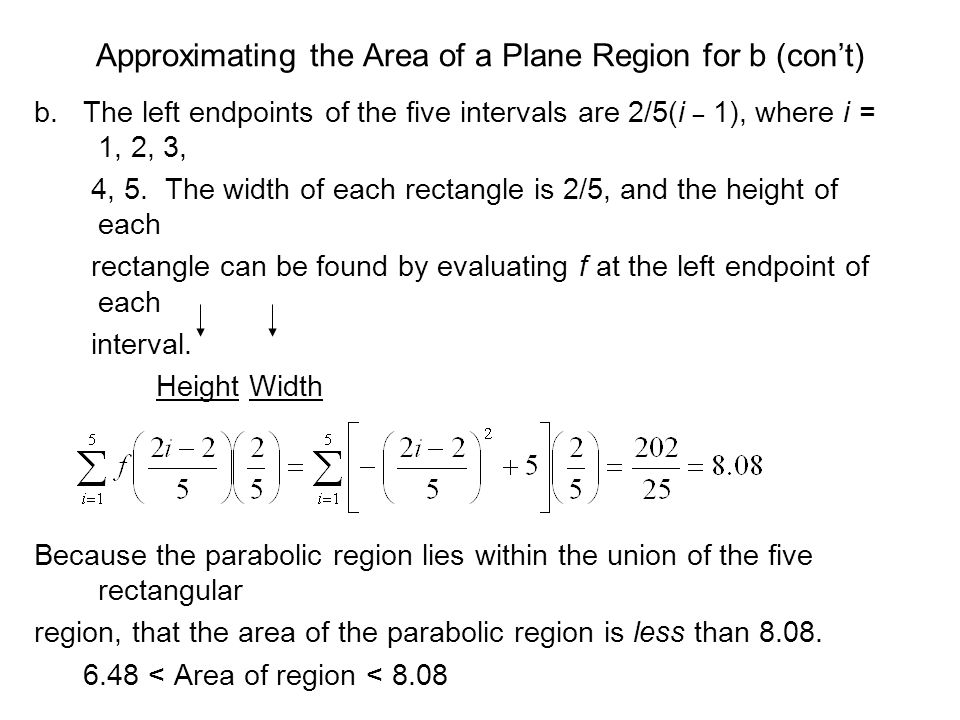 Approximating the Area of a Plane Region for b (con't)