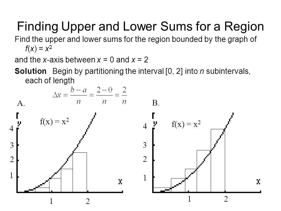 Finding Upper and Lower Sums for a Region