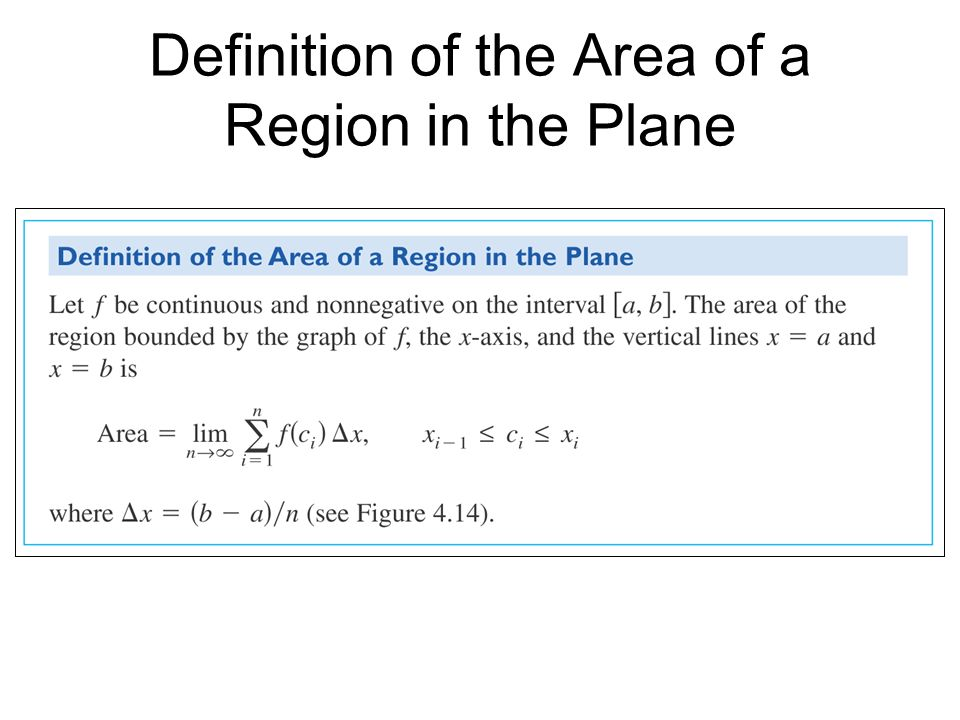 Definition of the Area of a Region in the Plane