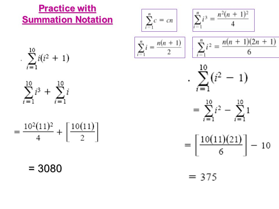 Practice with Summation Notation