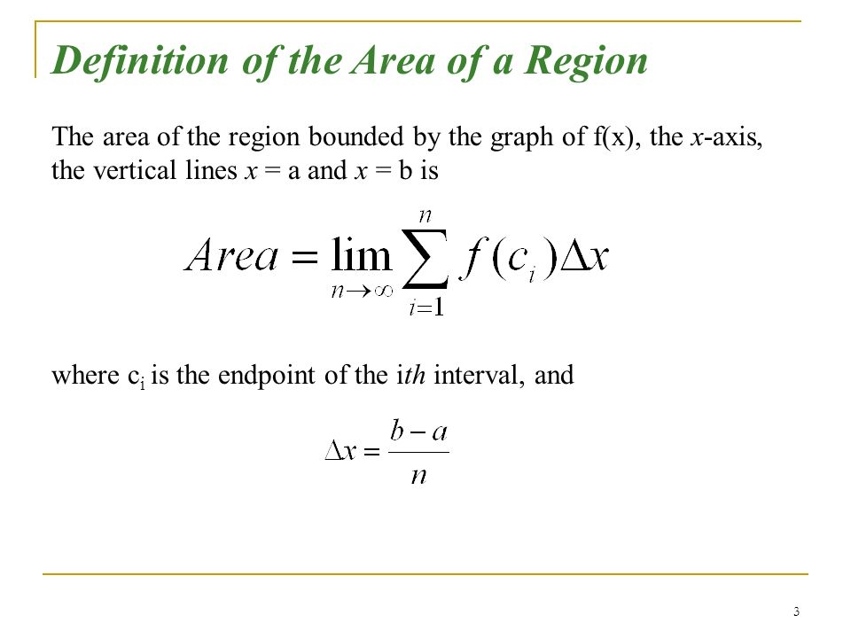 Definition of the Area of a Region