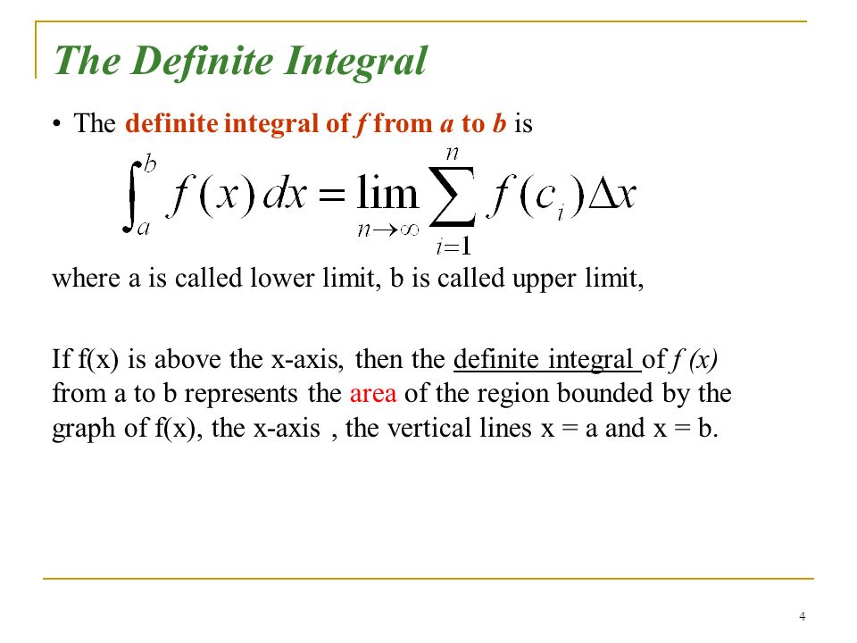 The Definite Integral The definite integral of f from a to b is