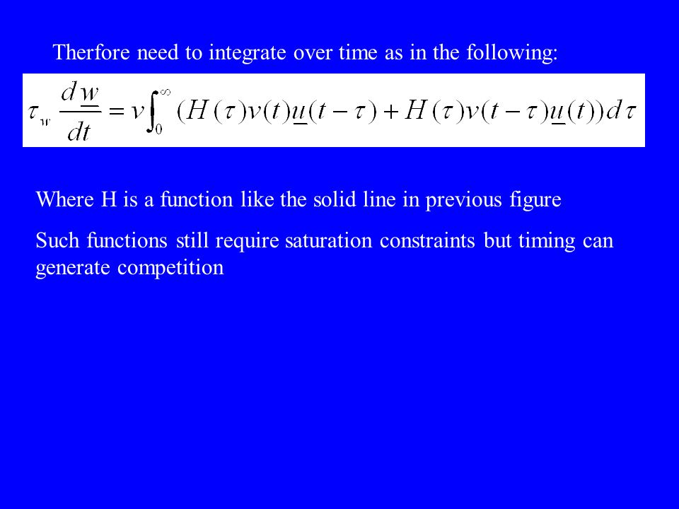 Therfore need to integrate over time as in the following: