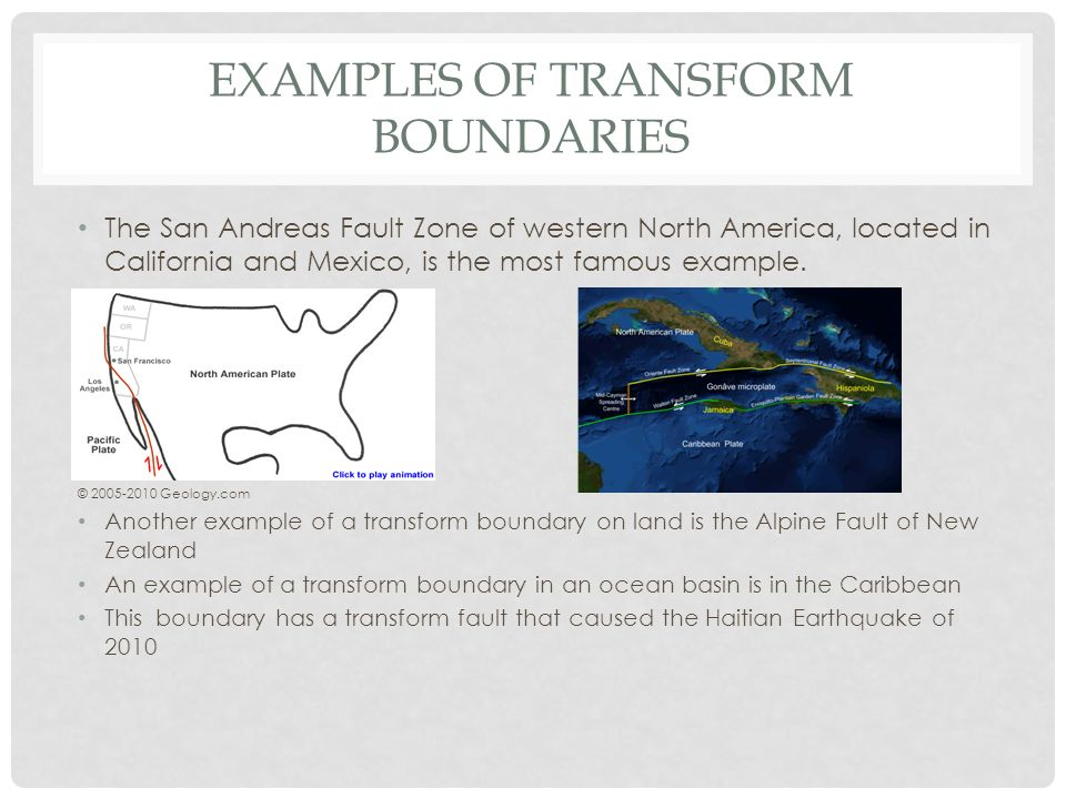 Example of transform boundary.