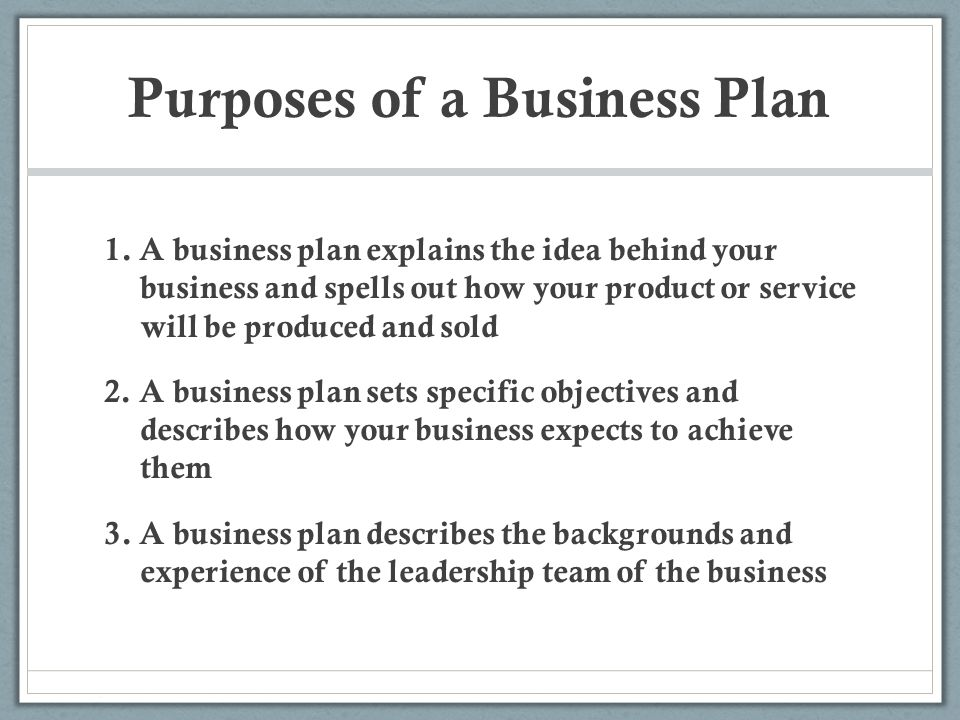 purpose of the business plan