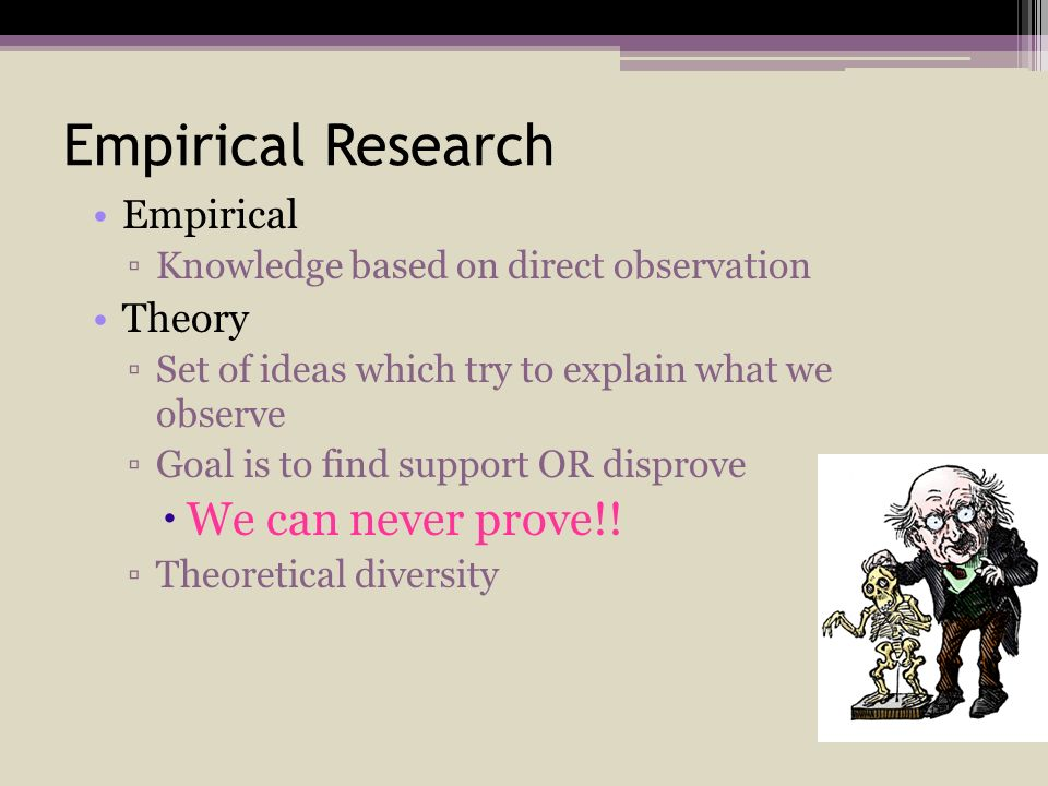 Empirical Research We can never prove!! Empirical Theory