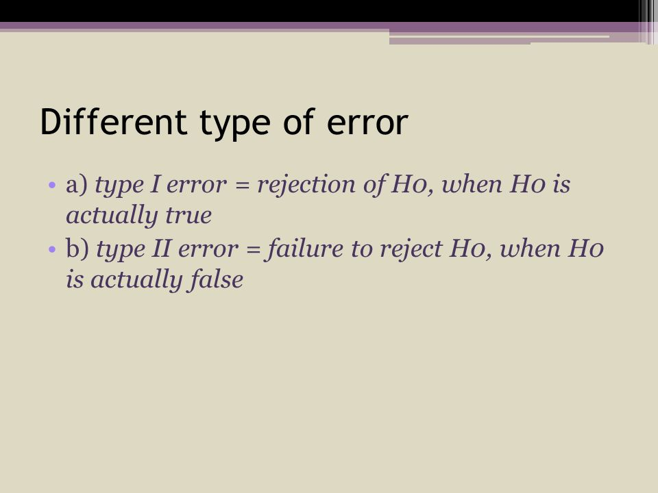 Different type of error