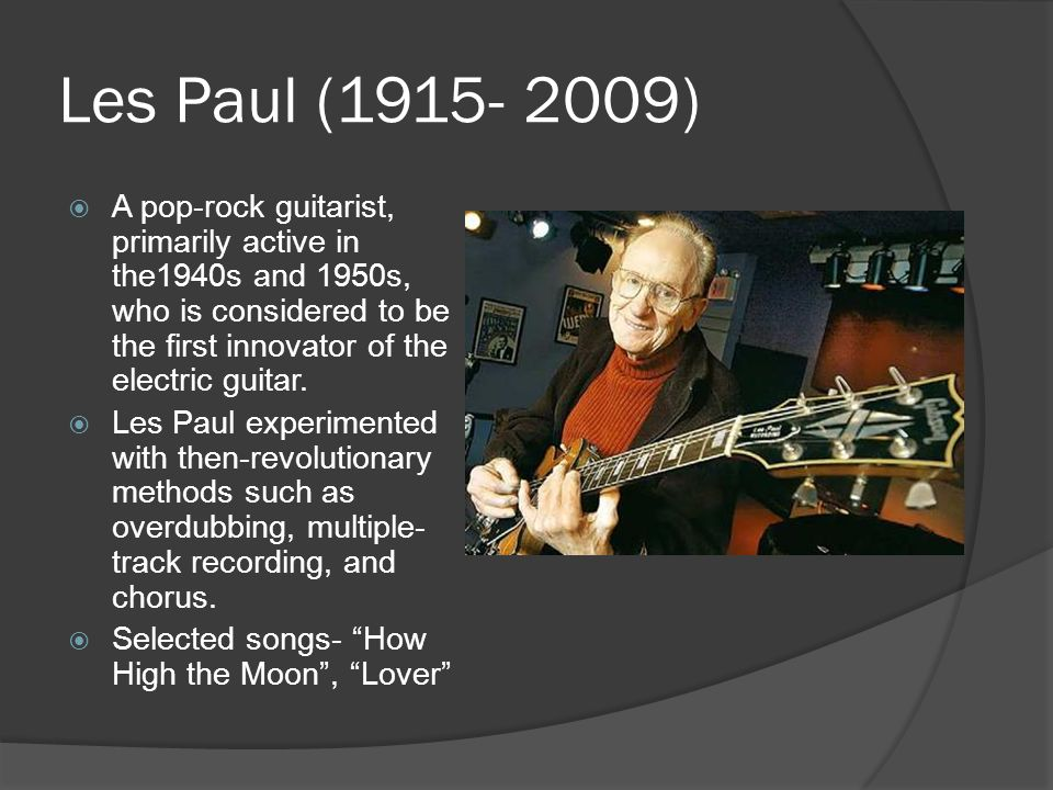 A history of the electric guitar - ppt video online download